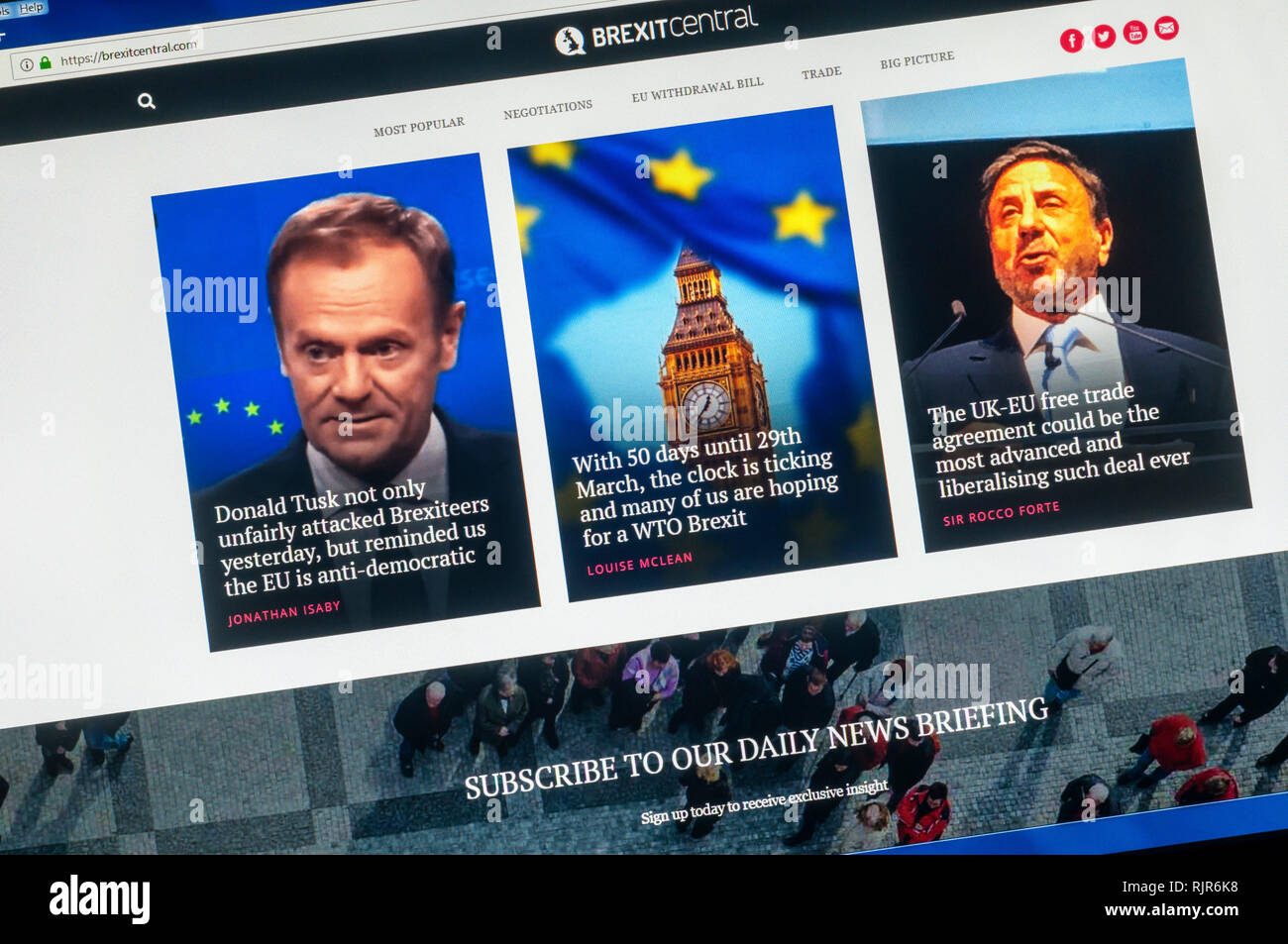 Page d'accueil pro-Brexit Brexit Site Web central. Photo Stock