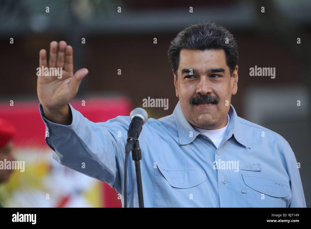 Caracas, Venezuela. 07Th Feb 2019. Le président vénézuélien Nicolas Maduro assiste à un événement à la place Bolivar à Caracas, Venezuela, 07 février 2019. Maduro a remercié aujourd'hui les marches qui l'invite à signer une lettre à l'United States rejetant l'ingérence de ce pays au Venezuela. Credit: Miguel Gutierrez/EFE/Alamy Live News Photo Stock