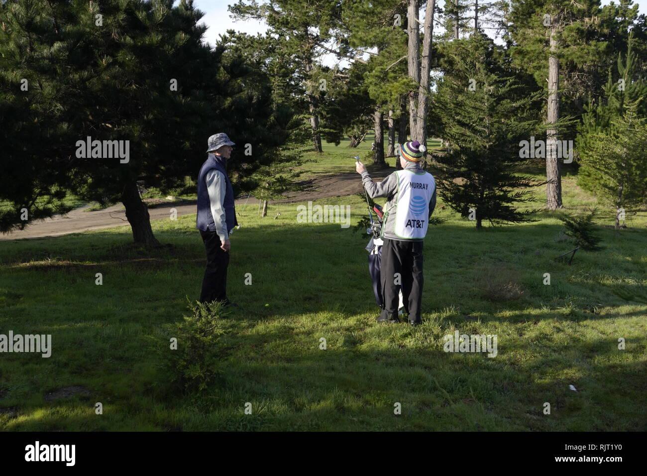7 Février, 2019 Country Club de la péninsule de Monterey, CA, USA le favori de tous Bill Murray à l'état brut sur le premier trou de la première série à l'AT&T Pro-Am à Pebble Beach Golf Links Photo Stock