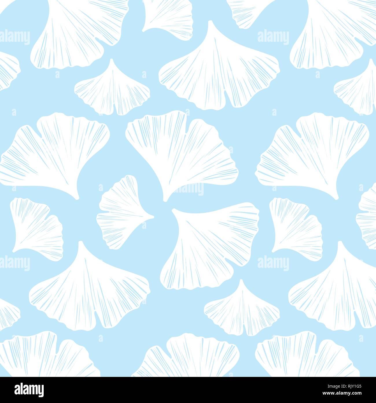 Feuilles De Ginkgo En Modèle Vectoriel Palette Couleurs Blanc Et
