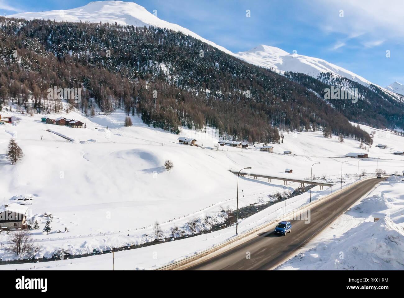 La station de ski des Alpes en. Livigno, Italie Banque D'Images