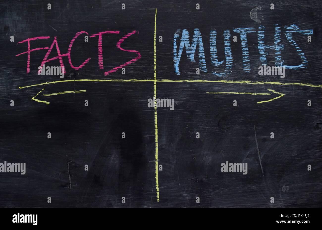 Faits et mythes écrit avec la couleur de la craie sur le tableau noir concept Photo Stock