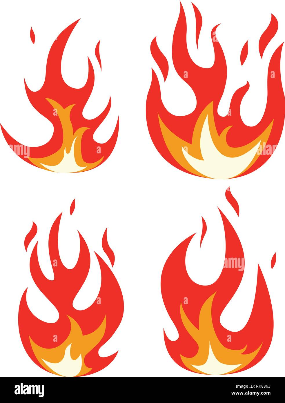Collection D Icones Vectorielles Feu Flamme Feu Design Dessin
