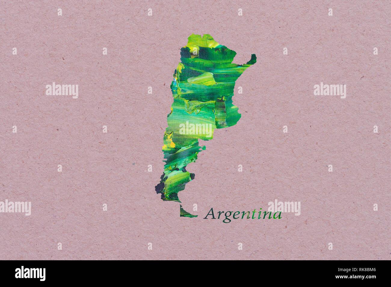 Carte de l'Argentine artistique Photo Stock