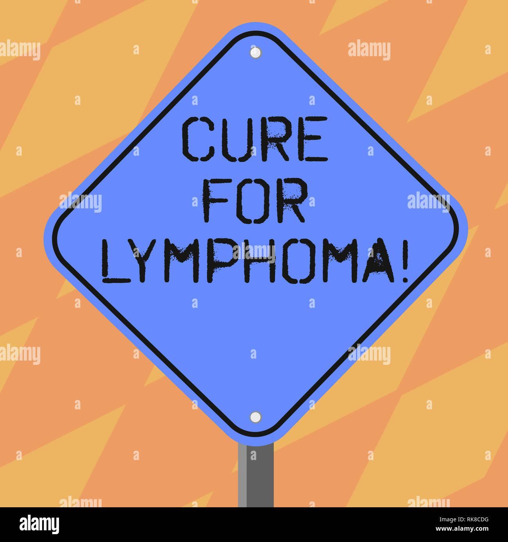Signe texte montrant Traitement pour le lymphome. Restauration photo conceptuelle moelle osseuse par des doses de chimiothérapie radiothérapie Couleur Blanc Forme Diamond Road Warnin Banque D'Images