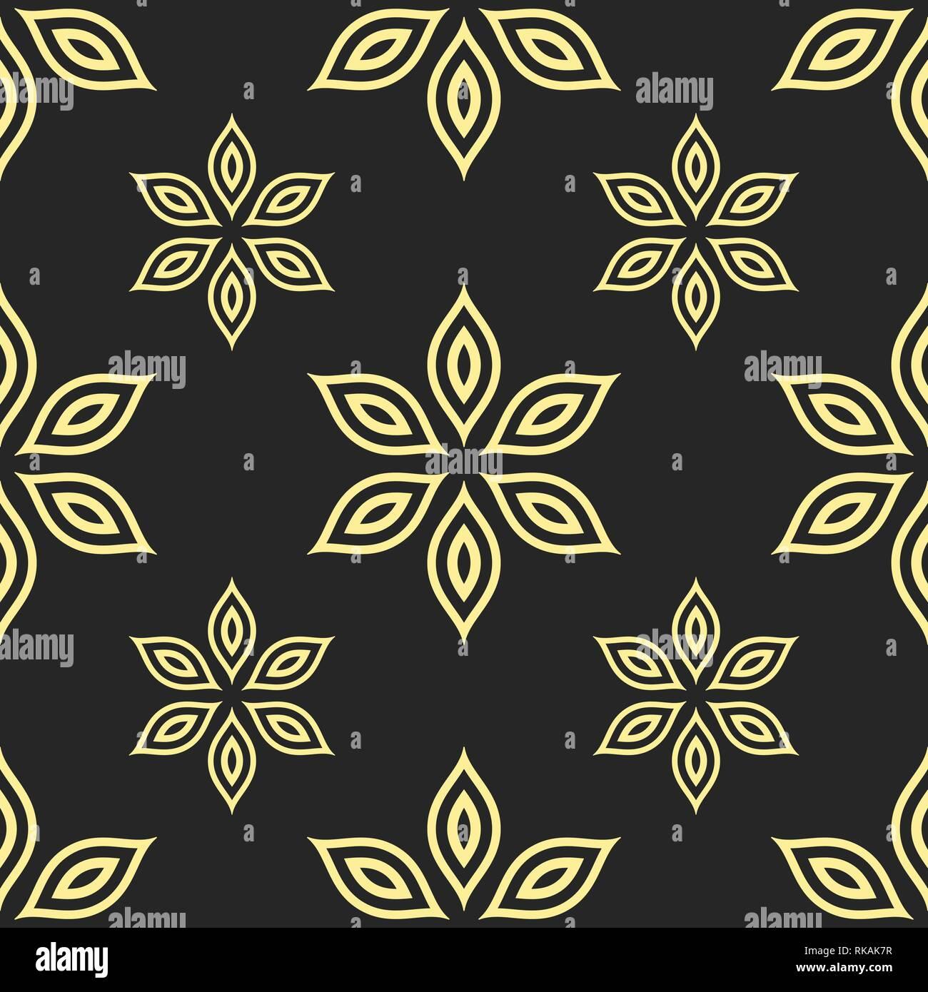 Résumé motif transparent des fleurs. Ornement floral géométrique. Vector background. Photo Stock