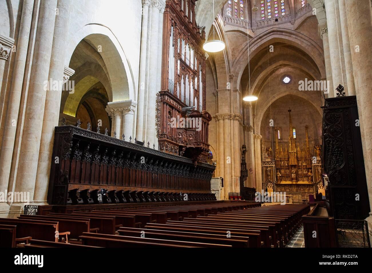 Stalles du choeur, orgue, Cathédrale, la ville de Tarragone, Catalogne, Espagne, Europe Photo Stock