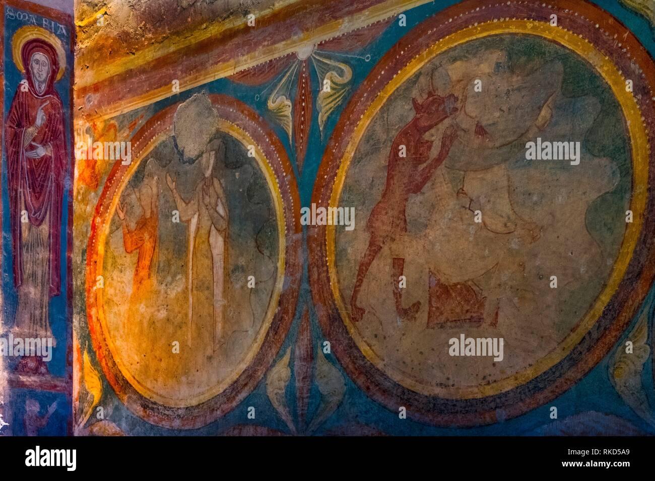 Nouvelle France, Aquitaine, Gironde, 13e siècle, la peinture murale à l'église paroissiale de Saint Emilion. L'un des wine domaine de la vins de Bordeaux Photo Stock