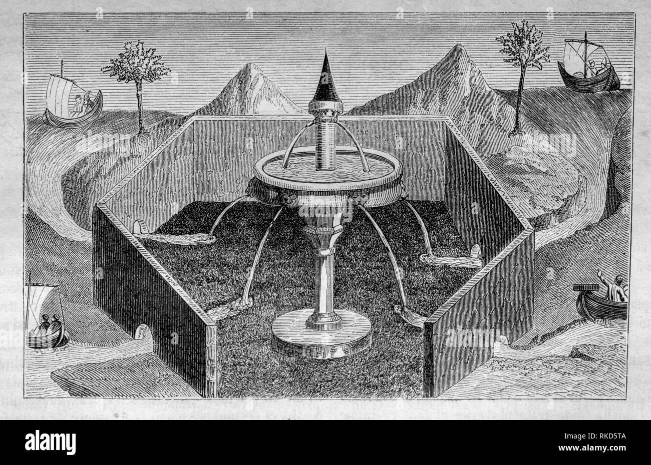 Les quatre fleuves du jardin d'Eden. ( À partir de la ''Livre des merveilles''). Le Jardin d'Éden ou Paradis (souvent), est le ''jardin de biblique Photo Stock