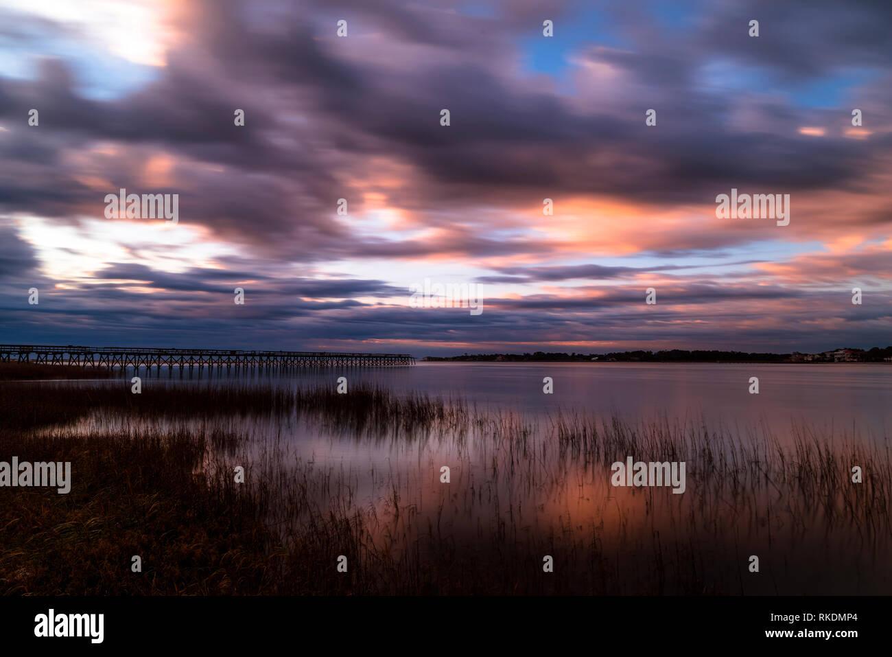 Fripp Inlet Lever du Soleil Photo Stock