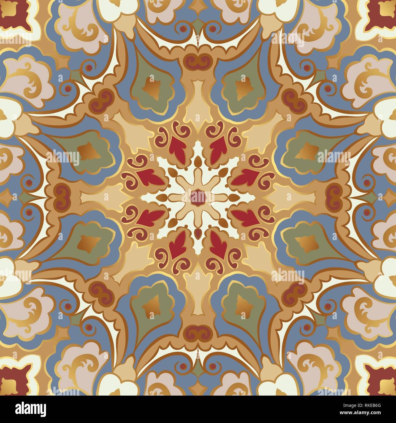 Modèle vectoriel continu avec des mandalas. L'Est de l'ornement brillant avec de l'or contour. Illustration de Vecteur