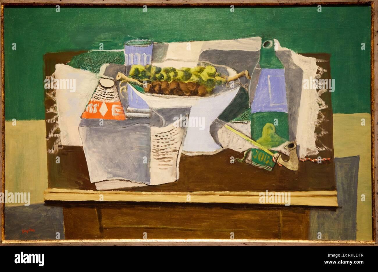 Henri Hayden, Nature morte sur fond vert, 1920, Museo de Bellas Artes, Musée des Beaux-Arts, Bilbao, Biscaye, Pays Basque, Espagne, Europe Photo Stock