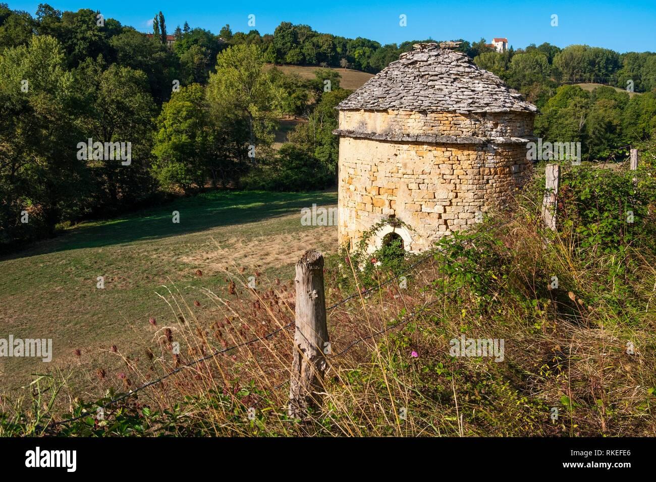 La France, l'Occitanie, Aveyron, 13e siècle.Maison en pierre, à Saint Remy. Photo Stock
