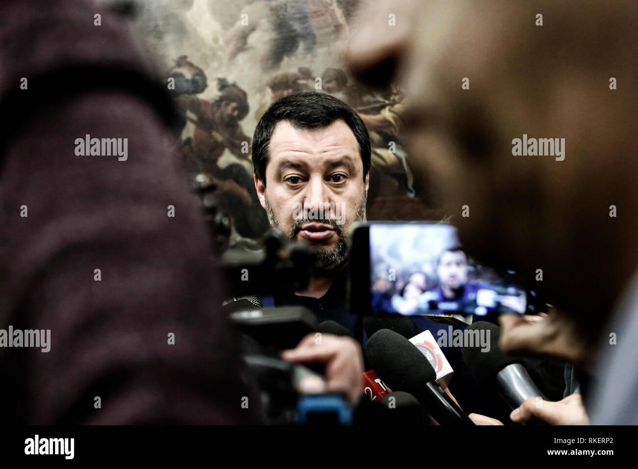 Roma, Italie. Feb 11, 2019. Matteo Salvini Rome le 11 février 2019. Sala Salvadori. Le ministre de l'Intérieur Italyn en conférence de presse après les résultats des élections régionales dans les Abruzzes. Foto Samantha Zucchi Insidefoto insidefoto Crédit: srl/Alamy Live News Photo Stock