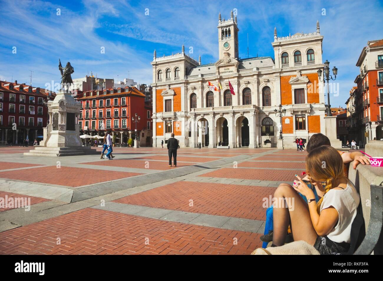 Hôtel de ville sur la Plaza Mayor, Valladolid, Castille et Leon, Espagne Banque D'Images