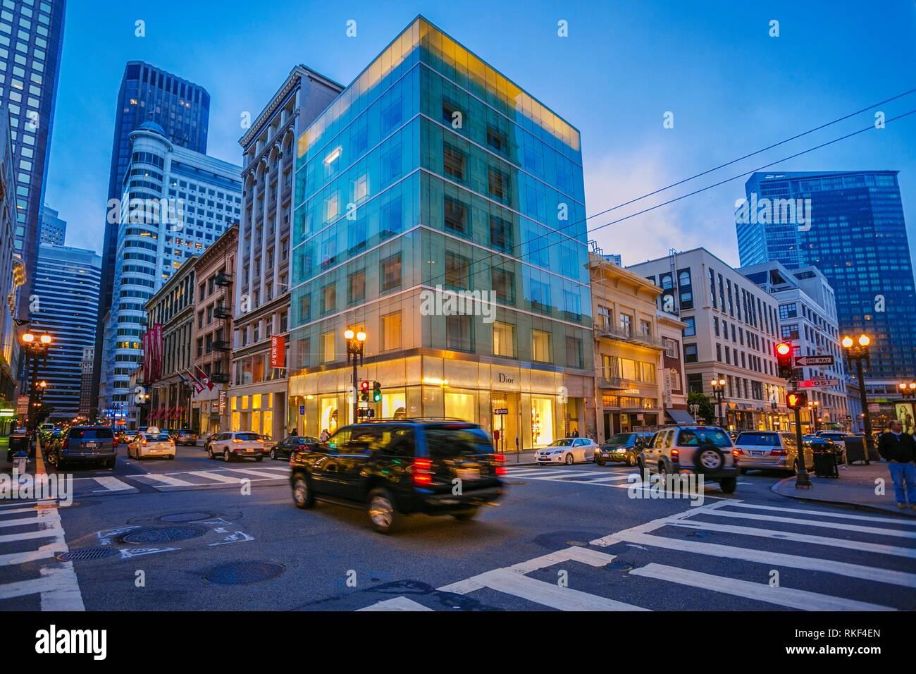 Rues autour de Union Square. San Francisco. La Californie, USA Photo Stock