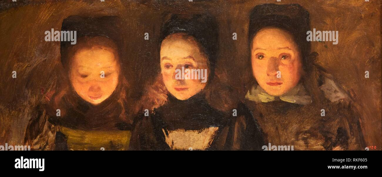 '''Trio (étude des chefs)'', v. 1900, Charles Cottet, Musée National d'Art Catalan, Museu Nacional d'Art de Catalunya, MNAC, Barcelone, Espagne, Europe Photo Stock