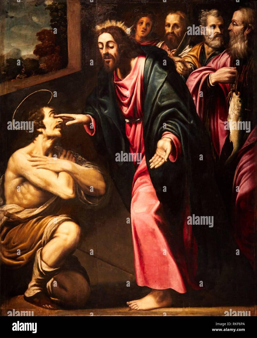 '''Jésus guérit l'aveuglement de Saint Restitude'', S. XVII, anonyme (Catalunya), Musée National d'Art Catalan, Museu Nacional d'Art de Catalunya, MNAC, Photo Stock