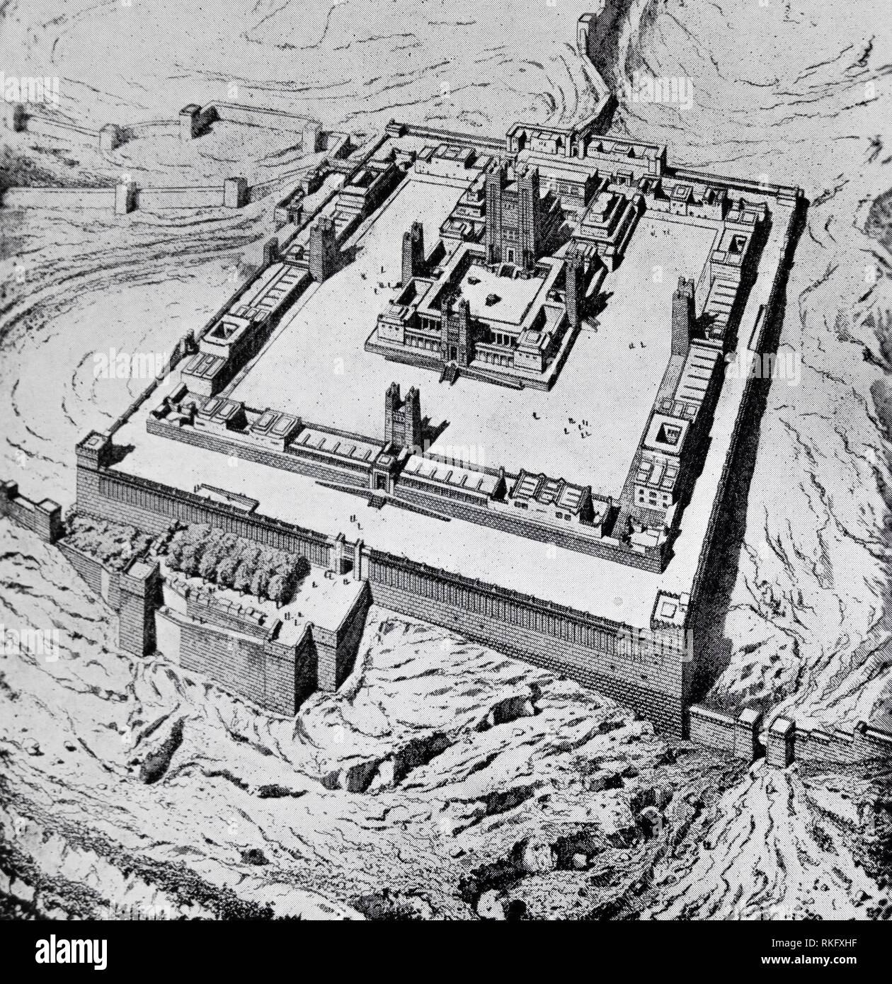 Temple de Jérusalem.Le Temple de Jérusalem a été tout d'une série de structures qui étaient situées sur le mont du Temple dans la vieille ville de Jérusalem, Photo Stock