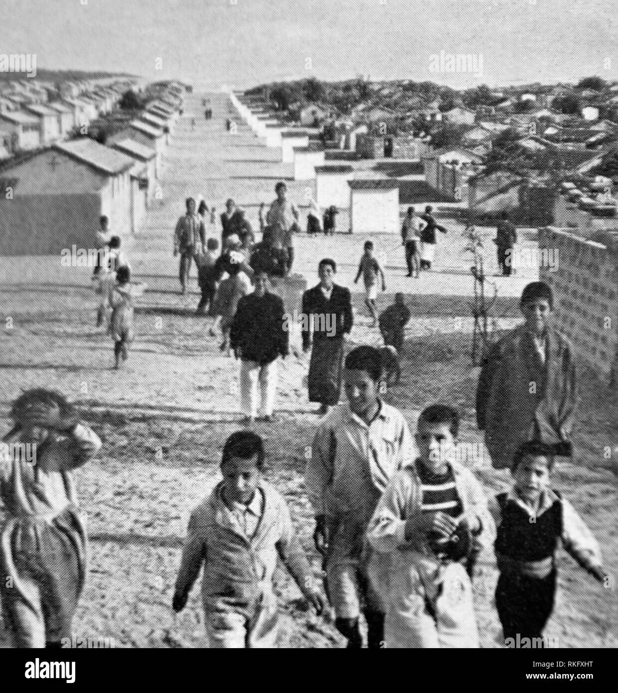 Israël, Palestine, Camp de réfugiés à Gaza, en 1955. Photo Stock