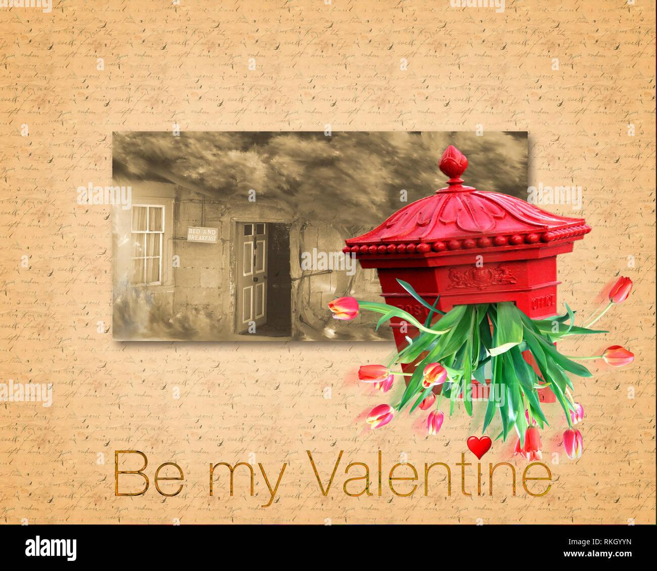 L'ART NUMÉRIQUE: Conception de cartes de Saint-Valentin Photo Stock
