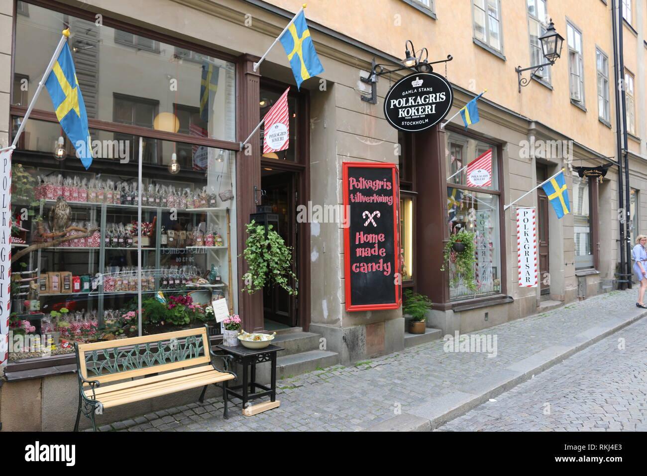 Gamla Stans Polkagriskokeri, Stockholm, Suède / Vieille Ville Polkagriskokeri, Stockholm, Suède Banque D'Images
