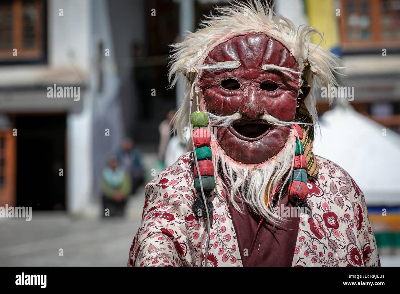 Cham danse exécutée par des moines au Ladakh Jo Khang, Temple Leh, Ladakh, Cachemire, Inde Photo Stock