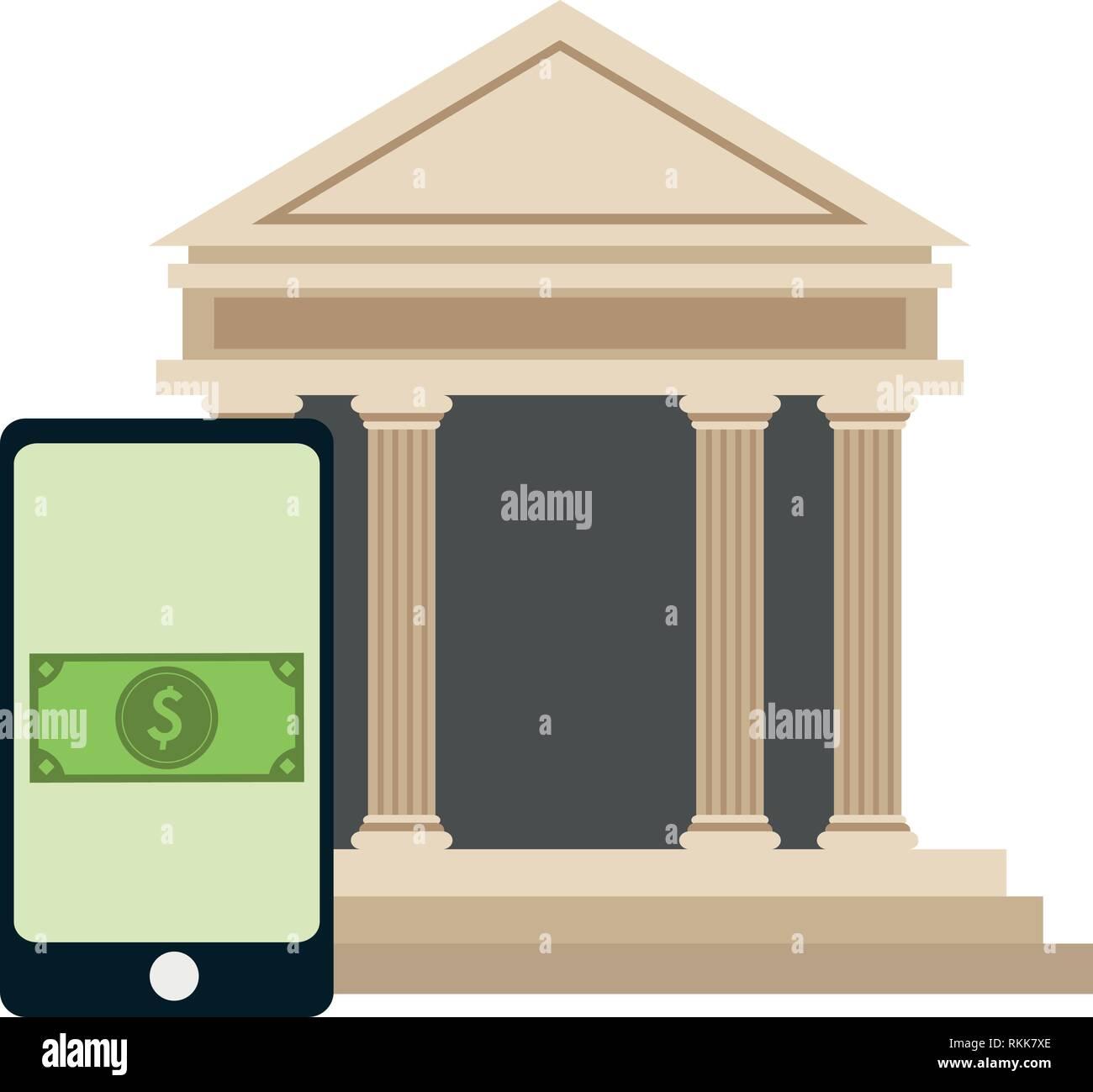 Paiement en ligne smartphone et bank building Illustration de Vecteur