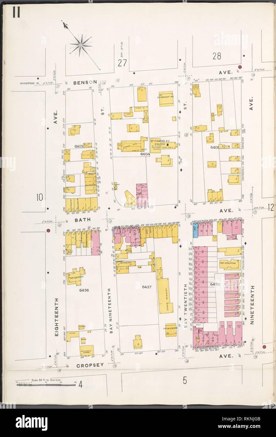 12 C. de Brooklyn, la planche no 11 [Plan délimité par Benson Ave., 19e, 10, Avenue Francis Towne, 18e Avenue.]. Sanborn Map Company (éditeur). Atlas de New York Banque D'Images