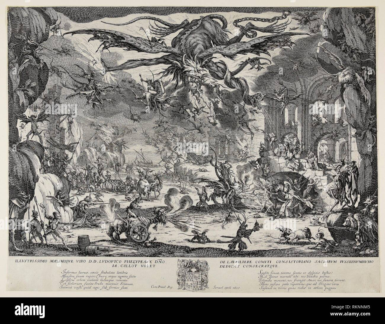 La Tentation de Saint Antoine - 1635 - Jacques Callot Français, 1592-1635 - Artiste: Jacques Callot, origine: France, Date: 1635, Technique: Gravure en Photo Stock