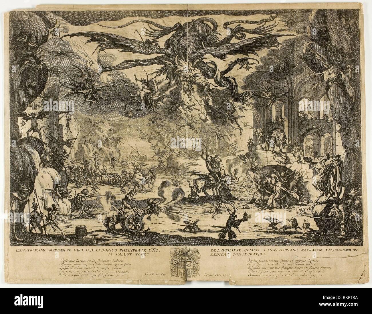 La Tentation de Saint Antoine - ch. 1635 - Jacques Callot Français, 1592-1635 - Artiste: Jacques Callot, origine: France, Date: 1630-1635, moyenne: Photo Stock