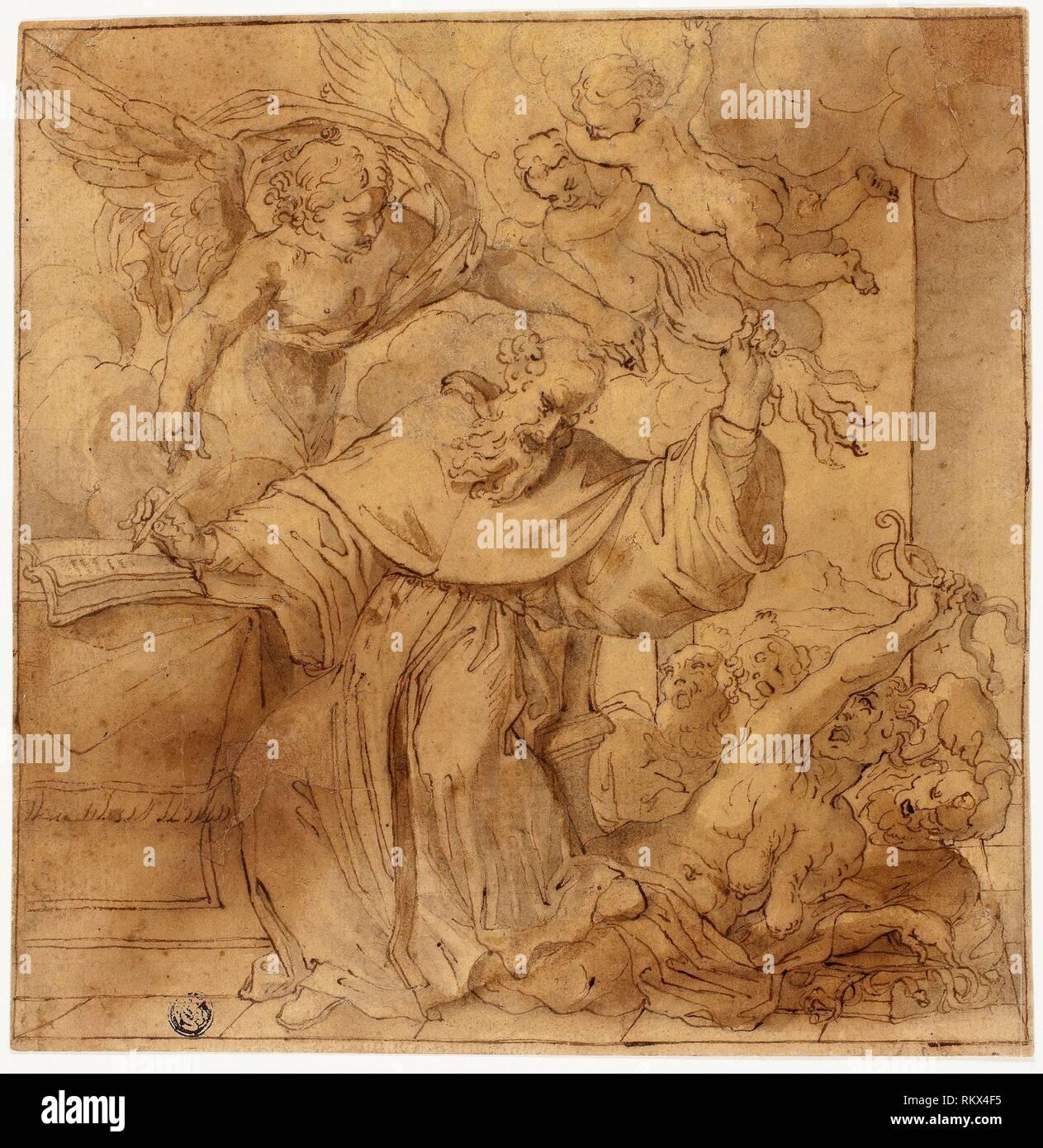 La Tentation de Saint Antoine - l'école peut-être de la famille Carracci (italien, s'est épanouie 16ème-17ème siècle) ou éventuellement Lodovico Carracci (Italien, Photo Stock