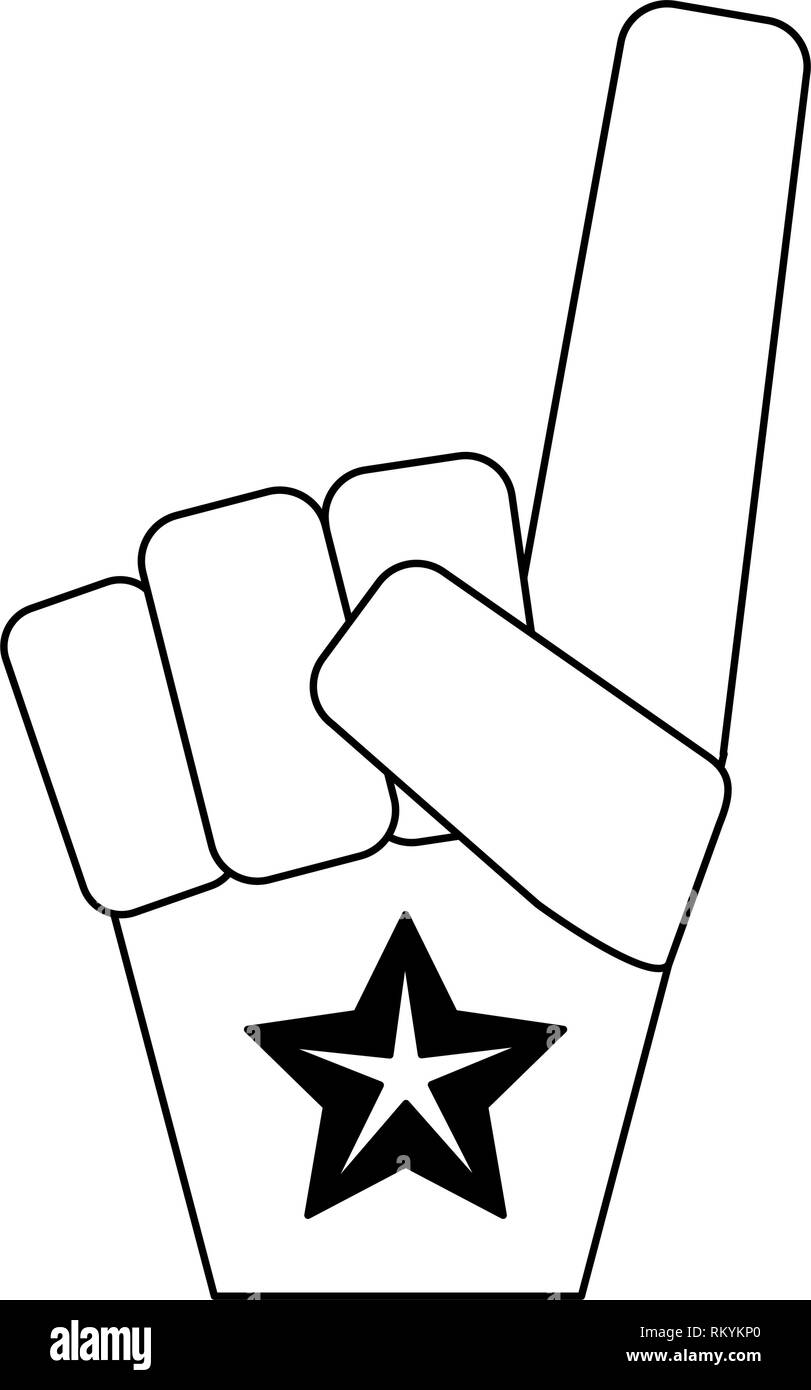 Fan de sport numéro un gant noir et blanc Photo Stock