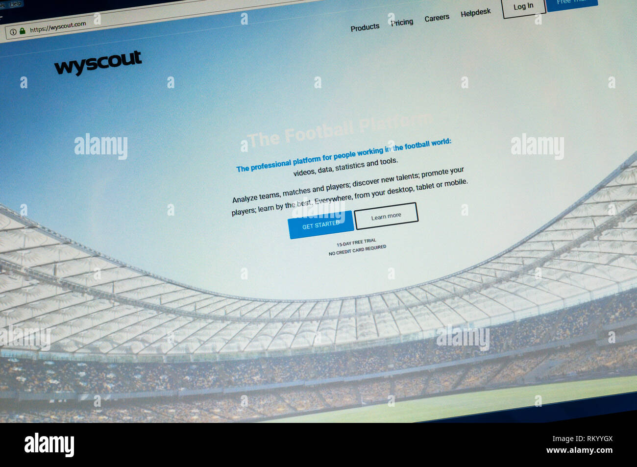 Page d'accueil du site web de l'Wyscout analyse football. Photo Stock