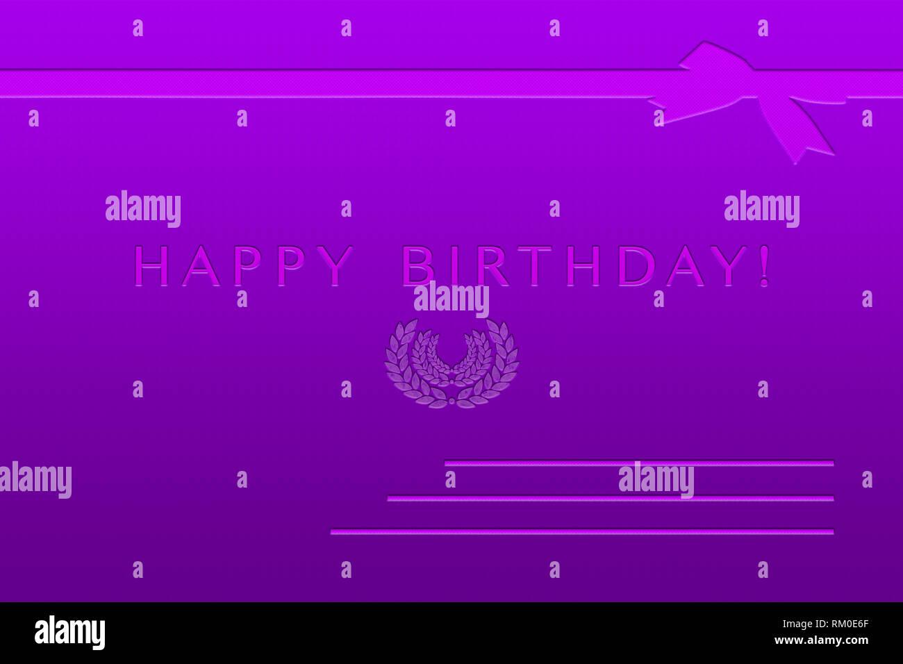 Carte postale anniversaire violet avec enfoncé dans le texte et les symboles Photo Stock