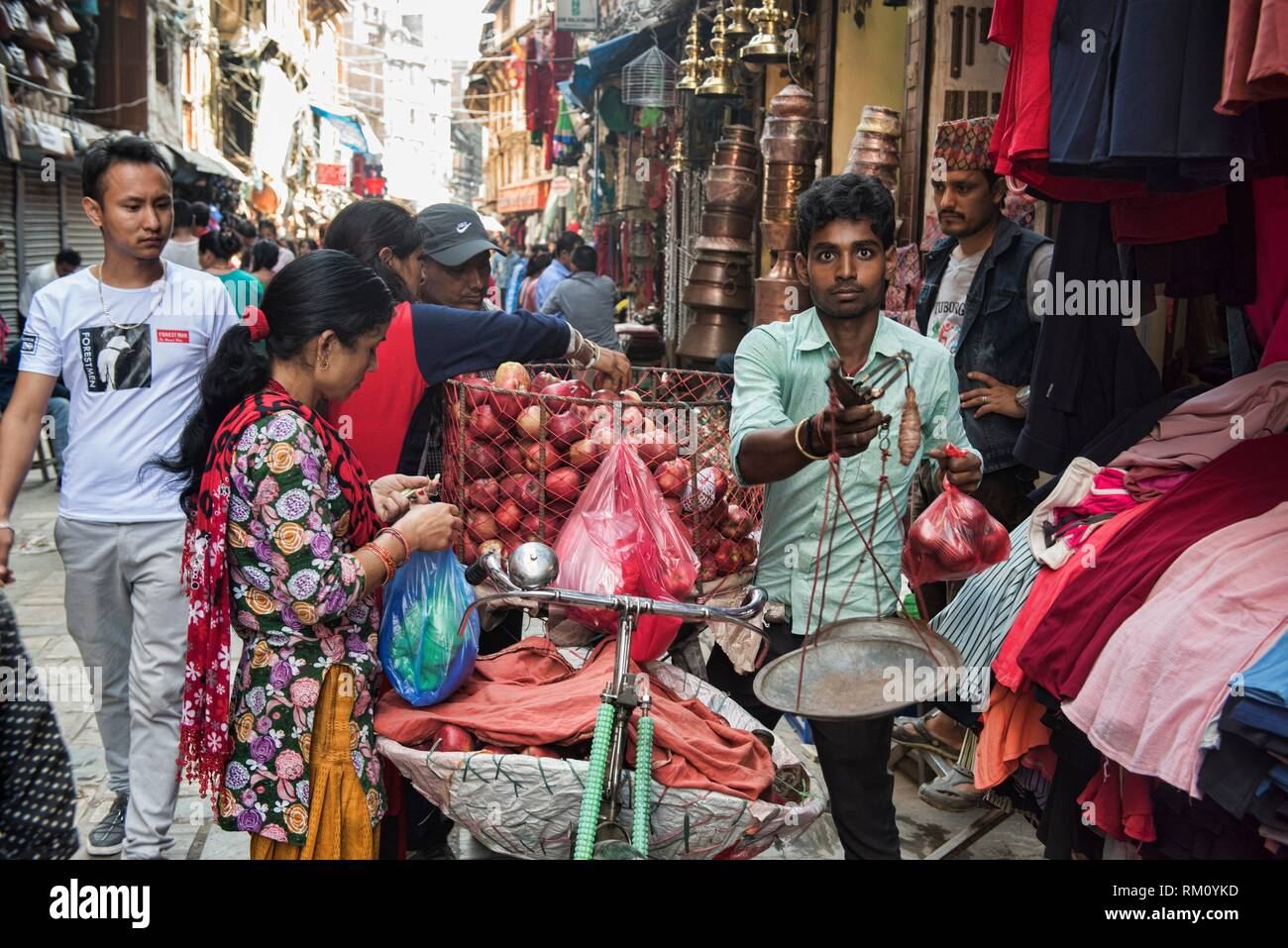 Fournisseur Apple, Katmandou, Népal. Photo Stock