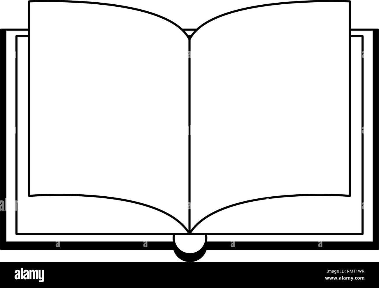 Livre Ouvert Isole De Dessin Anime En Noir Et Blanc Vecteurs