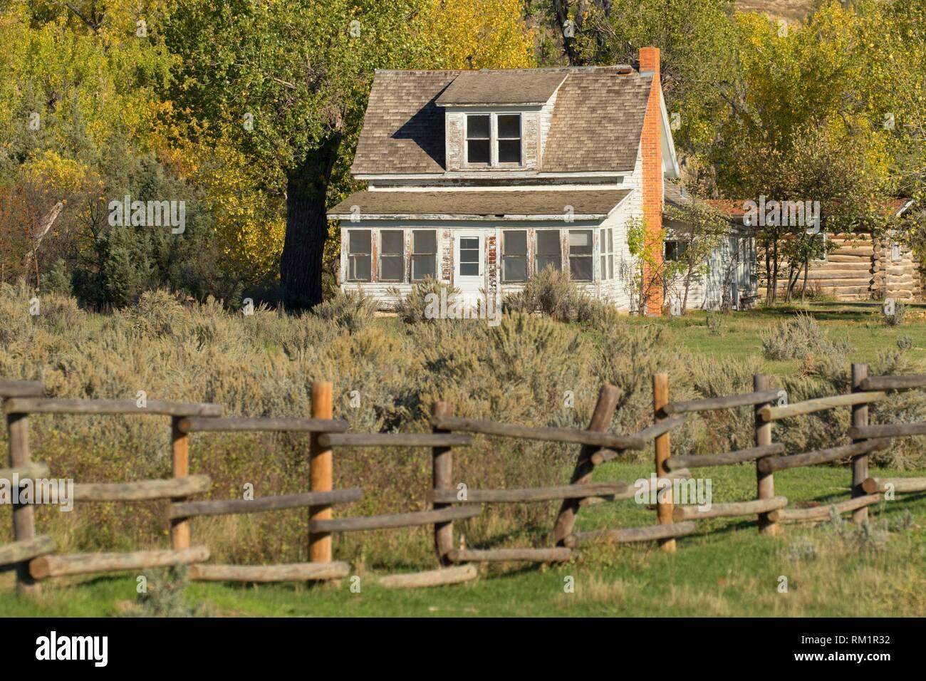 Vallée paisible Ranch, Theodore Roosevelt, l'unité nationale de Park-South dans le Dakota du Nord. Photo Stock