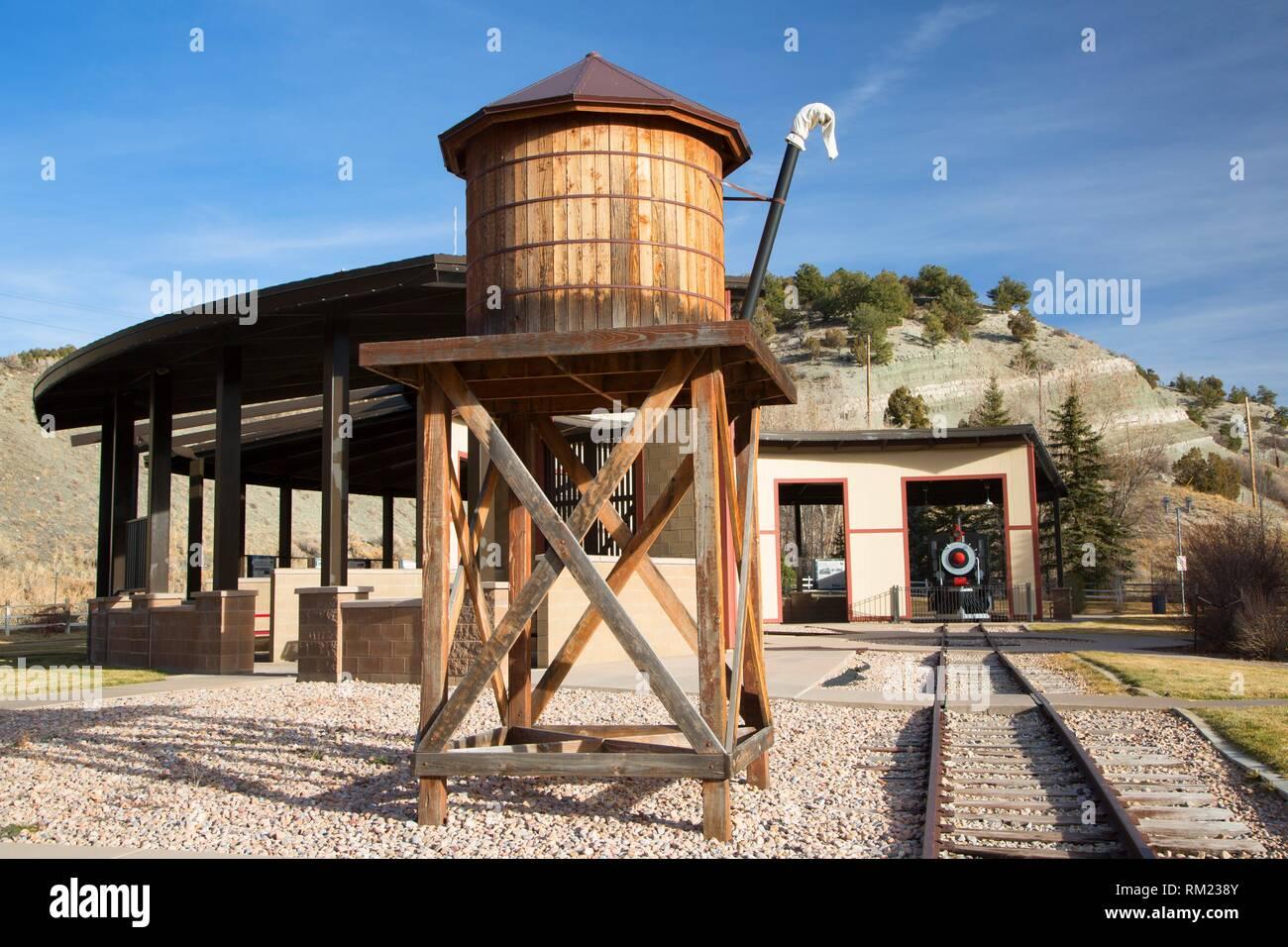 Railroad réservoir d'eau, aire de repos, la fourchette d'Utah. Photo Stock