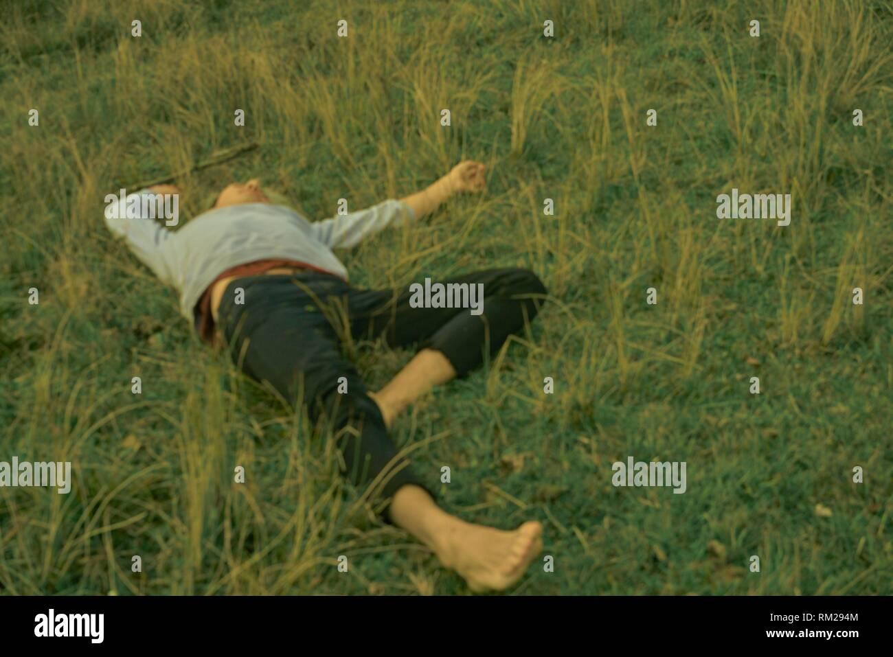 Jeune homme couché dans un pré, nature, nature, collage retour à la nature, perdu, le repos, l'exchausted, épuisement, relaxant, échapper à la vie quotidienne, s'échapper, Photo Stock