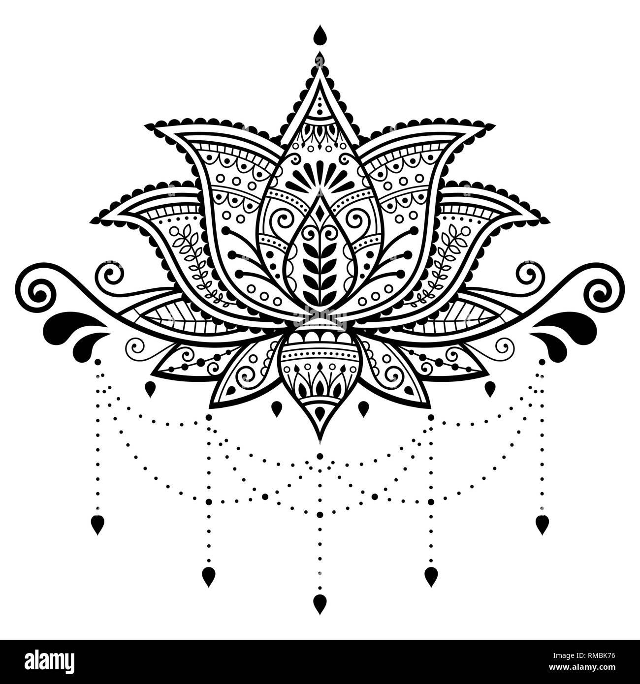 Fleur De Lotus Vecteur Conception Ornementale Indienne Motif Tatouage Au Henne Mehndi Yoga Decoration Carte De Souhaits Image Vectorielle Stock Alamy
