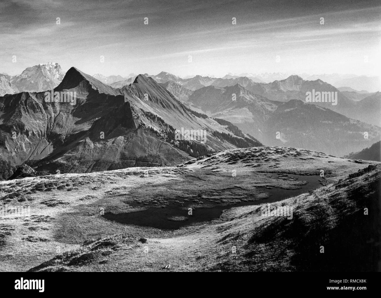 Vue Depuis Le Damuelser Suenser Spitze Sur La Corne Et De La Rote Wand à  Vorarlberg