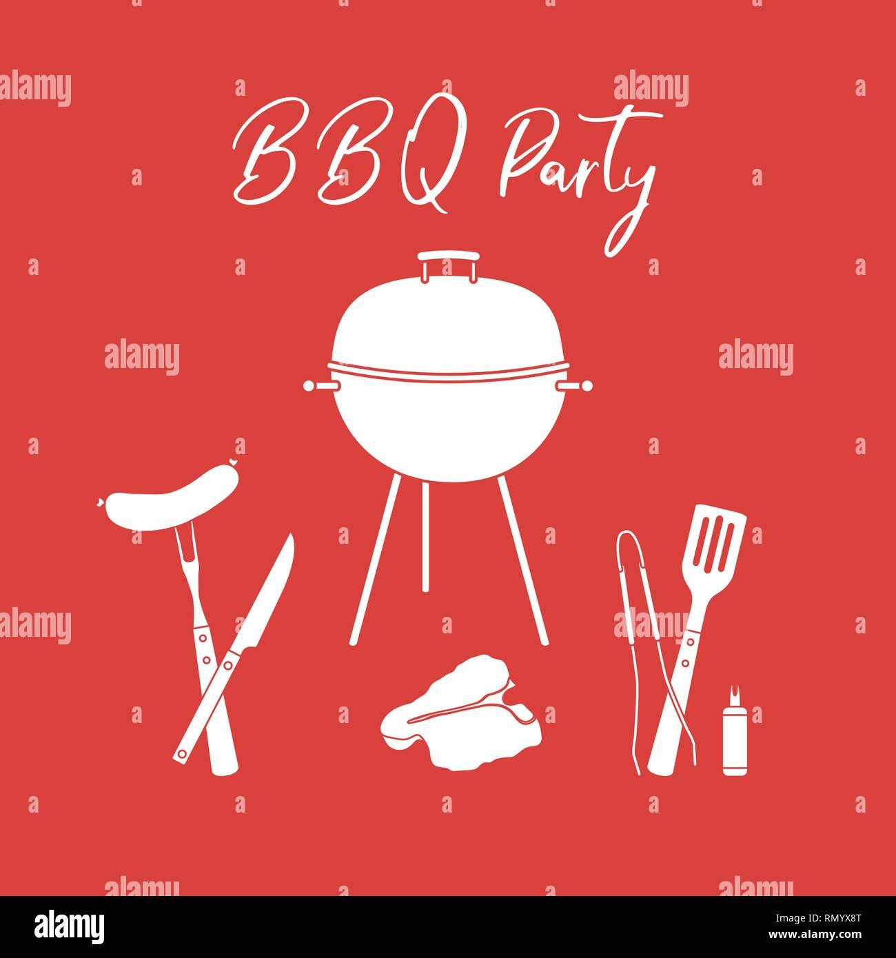 Affiche De Barbecue Vector Illustration. Griller Les Outils
