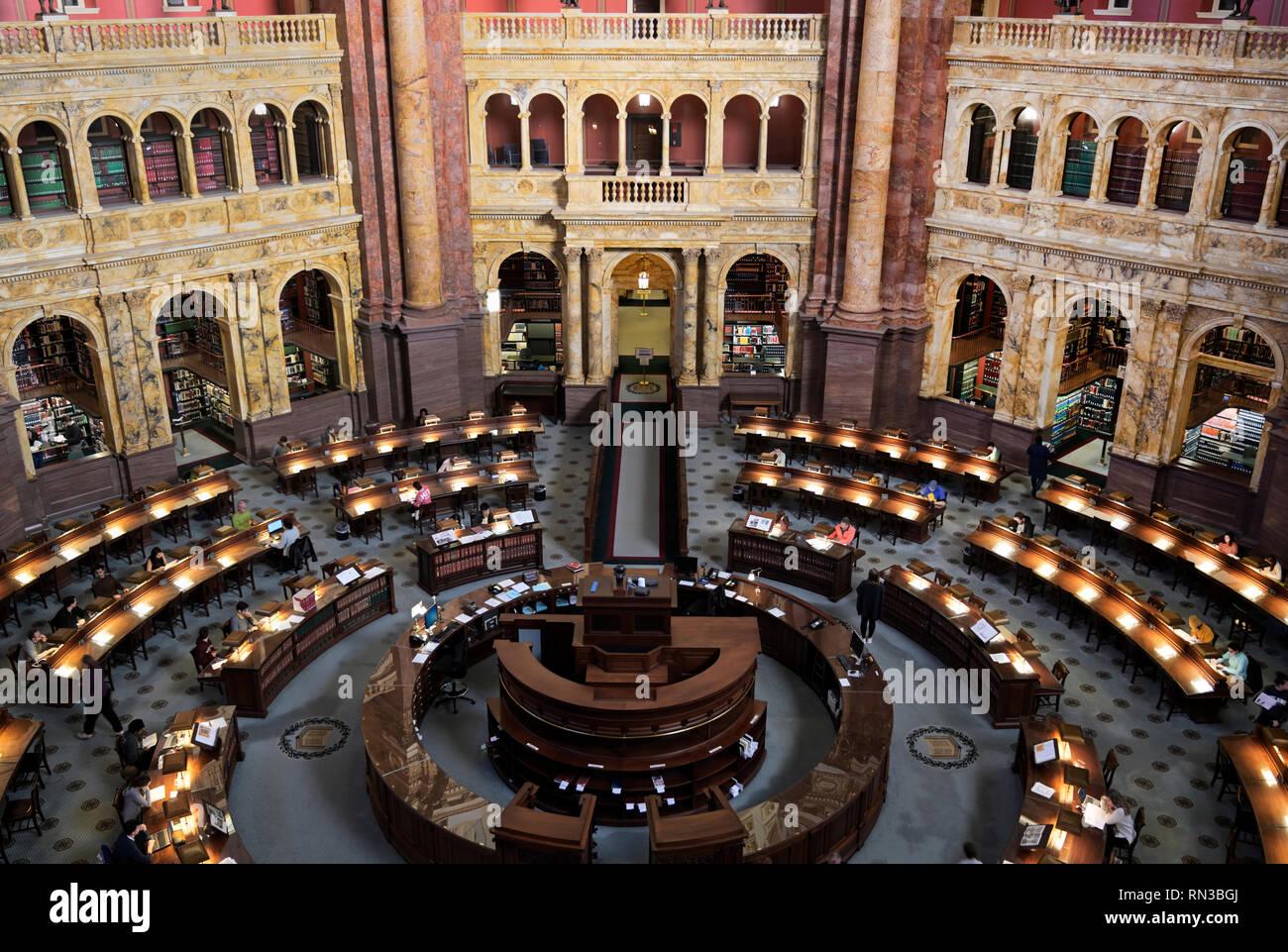 Salle de lecture de la Bibliothèque du Congrès Photo Stock
