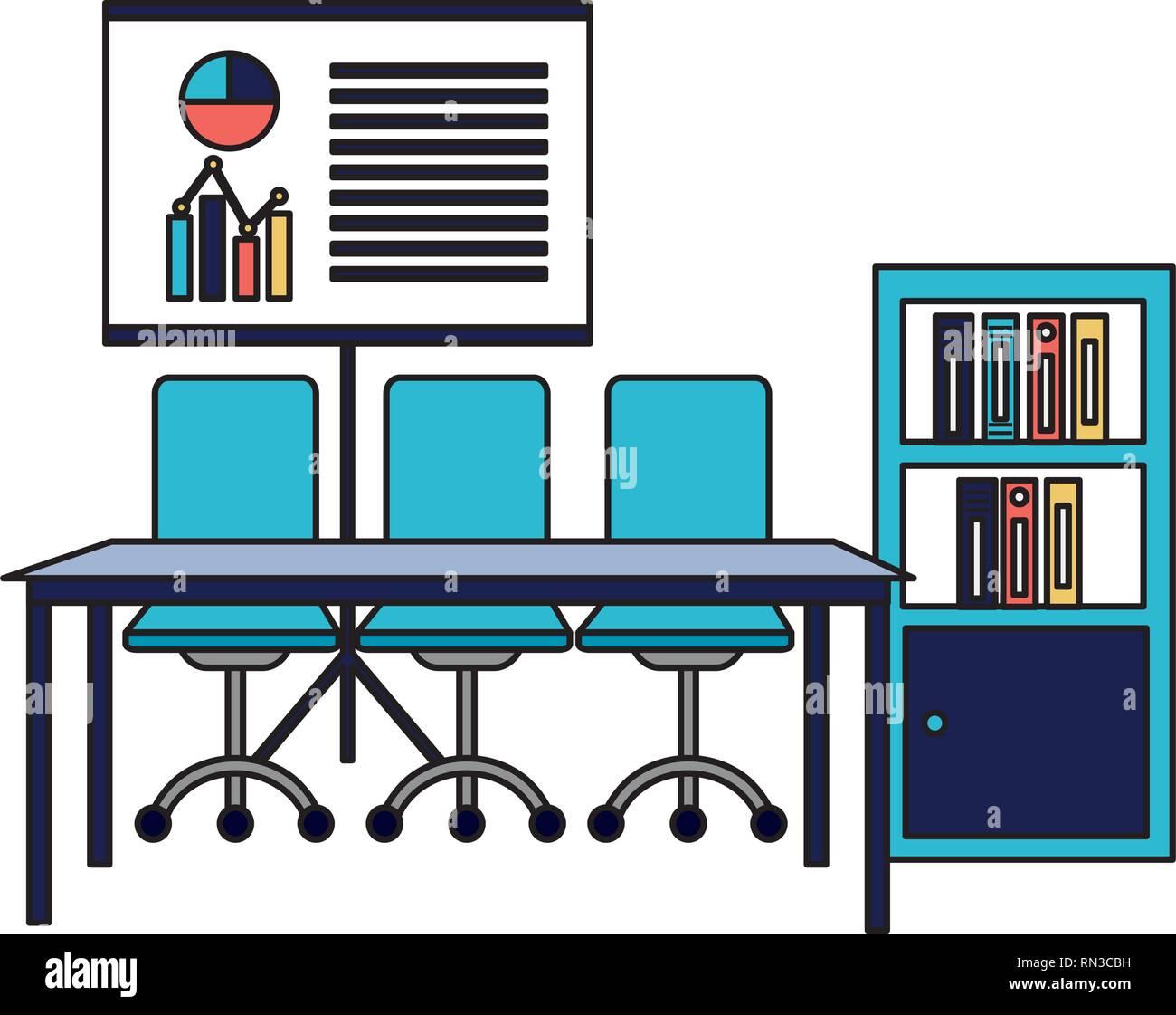 L'intérieur du milieu de travail de bureau Illustration de Vecteur