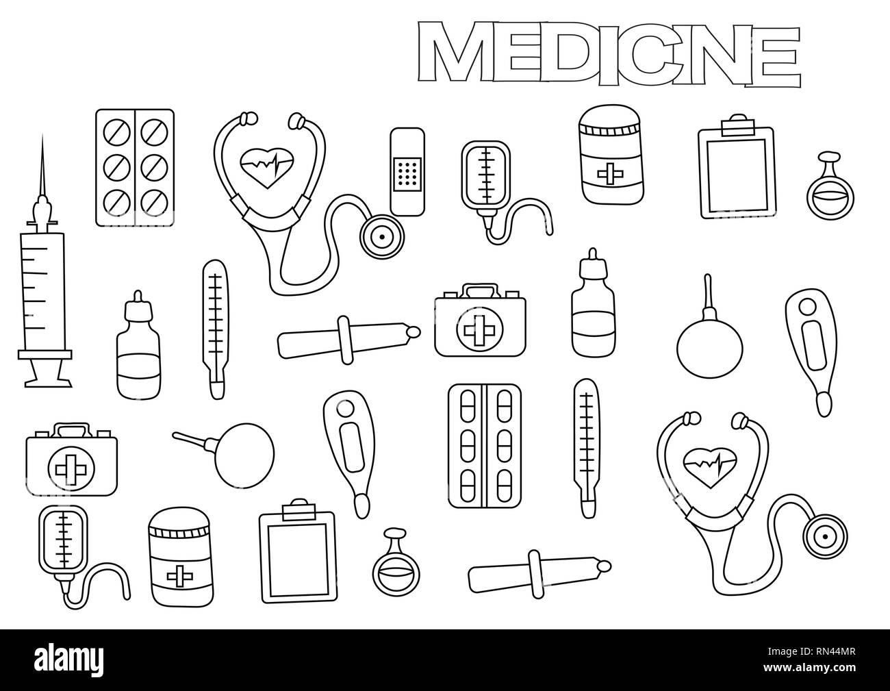 La Medecine A La Main Modele De Page De Livre De Coloriage Doodle Contour Vector Illustration Image Vectorielle Stock Alamy