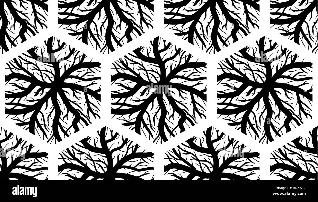 Seamless Texture veines hexagonale - Noir et Blanc Illustration de Vecteur