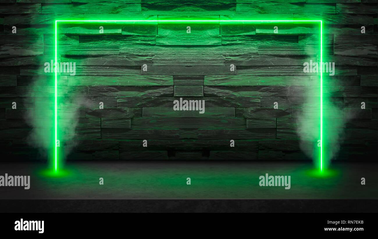 Table en pierre sombre vide avec néon fluorescent vert lumières laser dans la fumée. Parti et night club concept fond avec copie espace pour texte ou d'un produit Banque D'Images