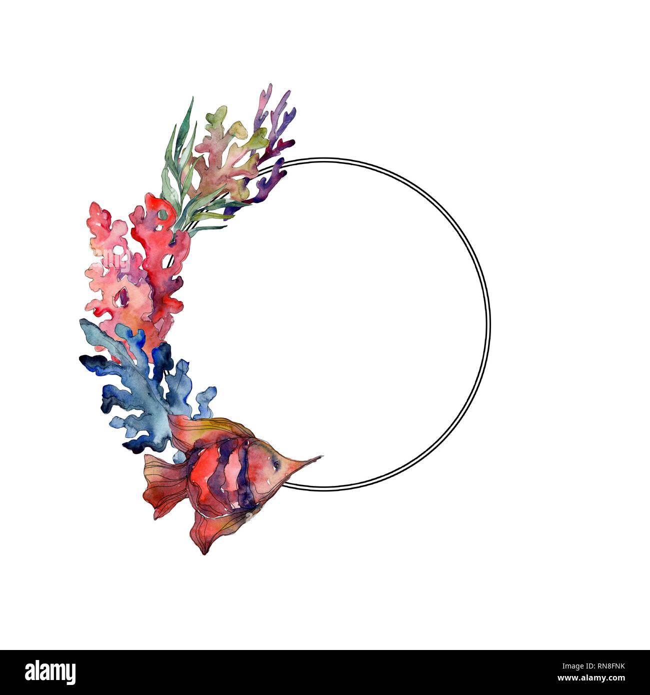 Rouge et bleu nature sous-marine aquatique coral reef. Jeu de fond à l'aquarelle. Bordure de cadre carré ornement. Banque D'Images