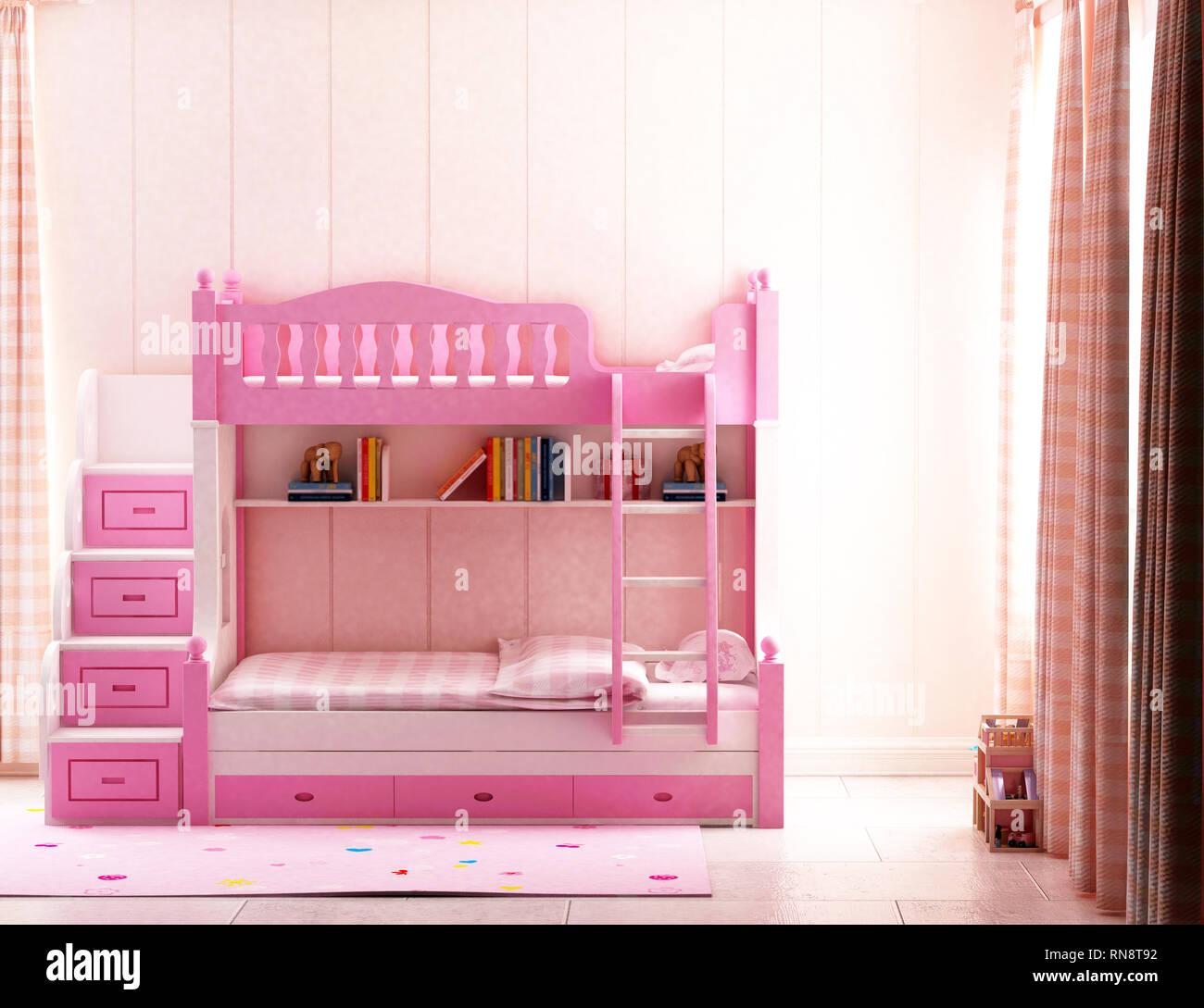 Rendu 3D chambre enfant couleur rose Banque D\'Images, Photo ...